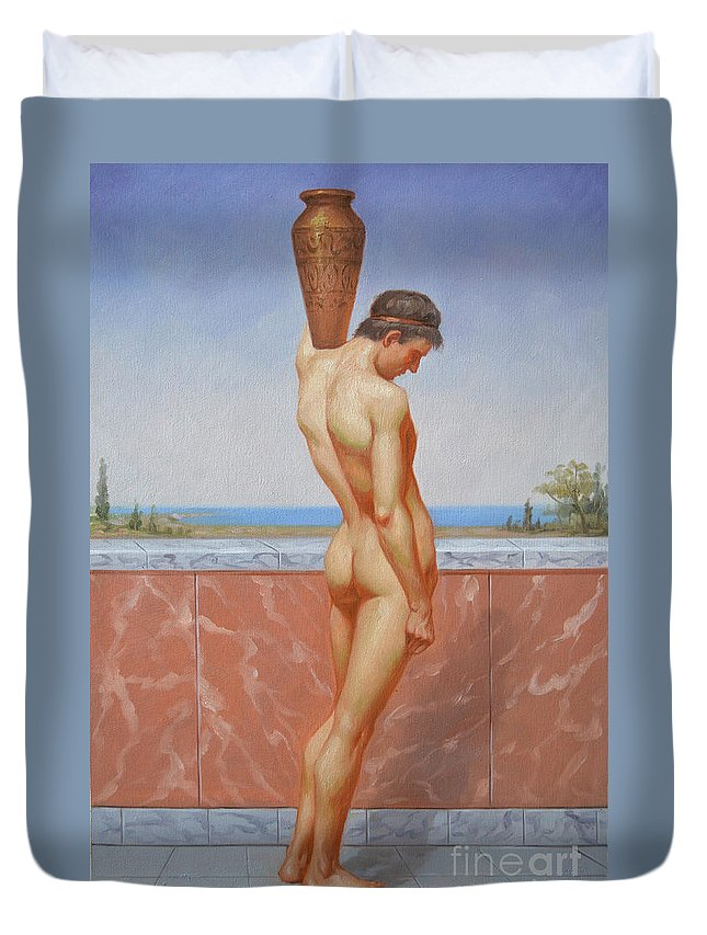 Oil Painting Duvet Cover featuring the painting Original Oil Painting Man Body Art Male Nude On Canvas#16-2-5-13 by Hongtao   Huang