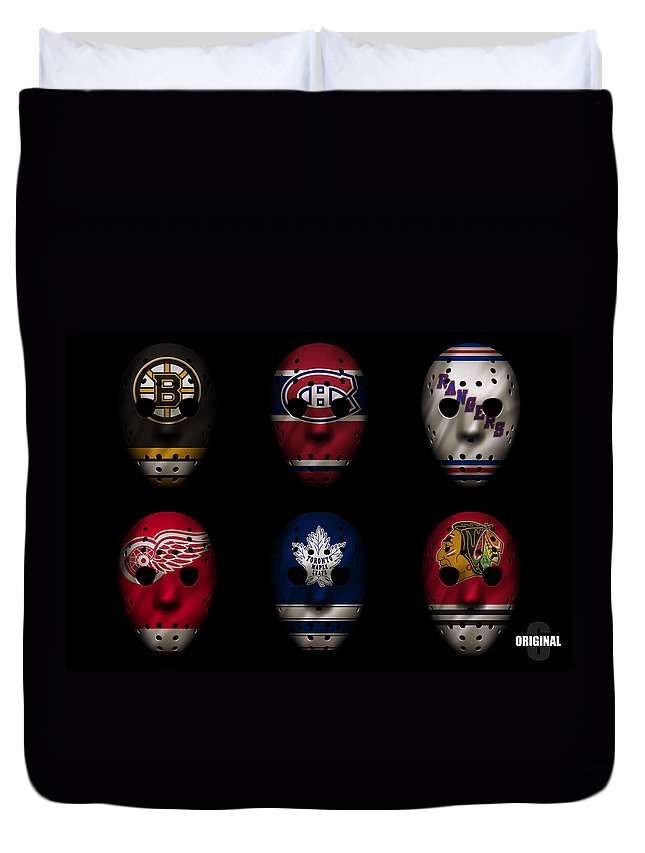 Detroit Red Wings Duvet Cover featuring the photograph Original Six Jersey Mask by Joe Hamilton