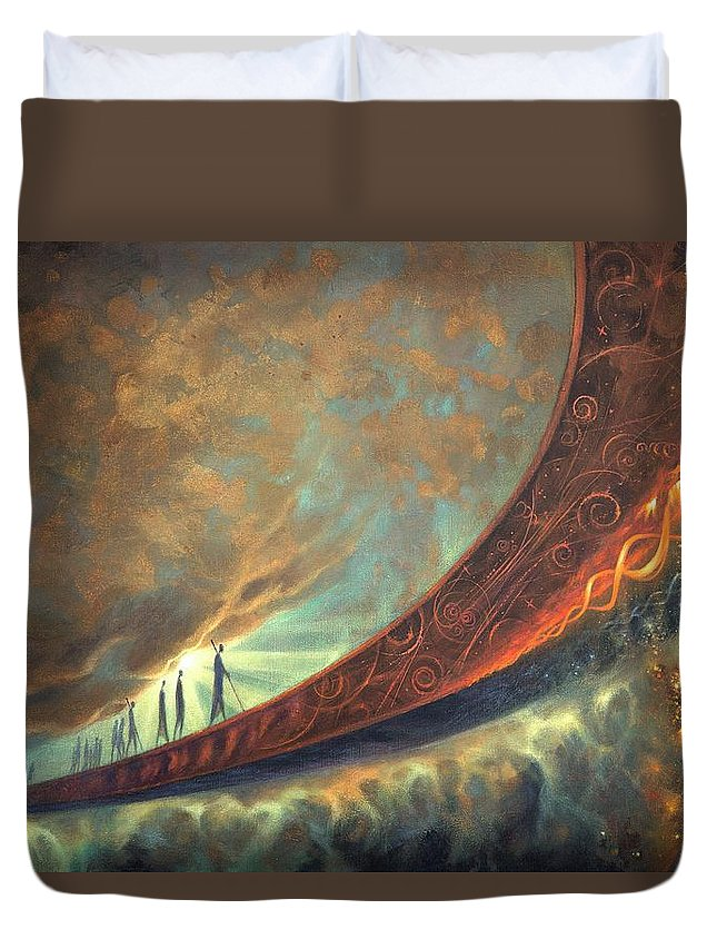 Humanity Duvet Cover featuring the painting Origins by Lucy West