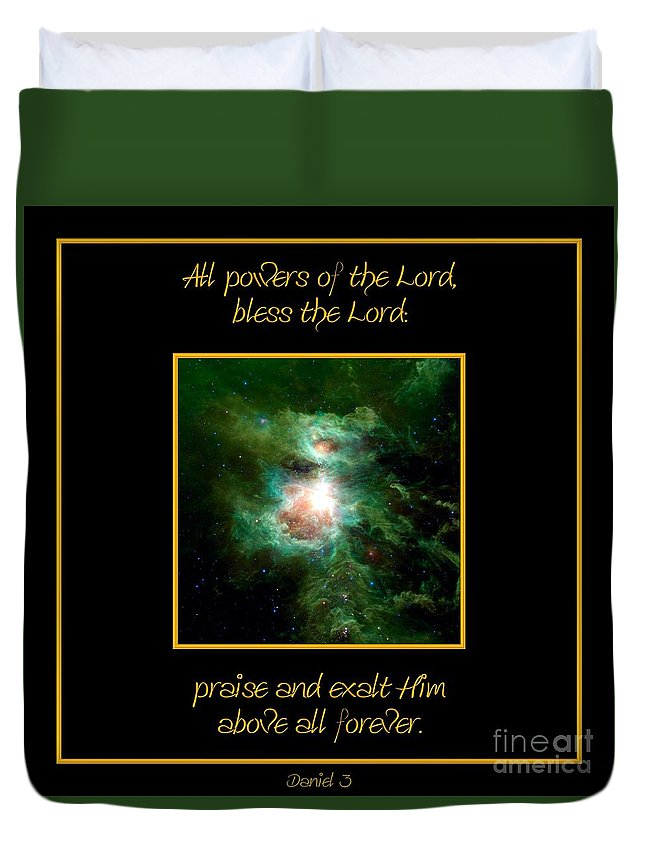 Orion Nebula Duvet Cover featuring the photograph Orion Nebula All Powers Of The Lord Bless The Lord Praise And Exalt Him Above All Forever by Rose Santuci-Sofranko