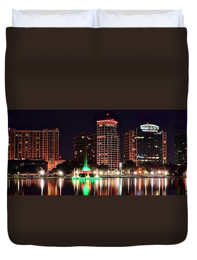 Orlando Duvet Cover featuring the photograph Orlando Panorama by Frozen in Time Fine Art Photography