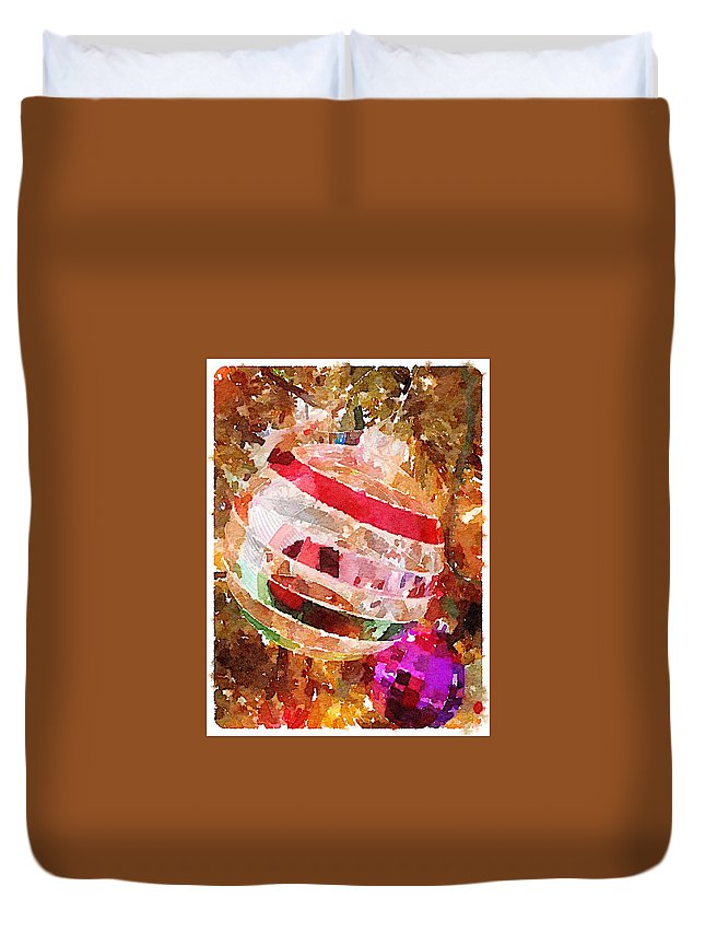 Waterlogue Duvet Cover featuring the digital art Ornament by Shannon Grissom