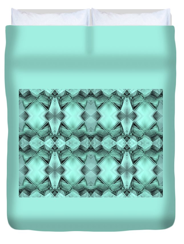 Tile Duvet Cover featuring the digital art Ornamental Abstract Green Crystal by Nenad Cerovic