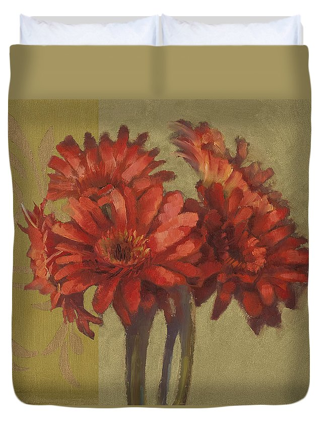 Floral Duvet Cover featuring the painting Ornamental Gerbers by Cathy Locke