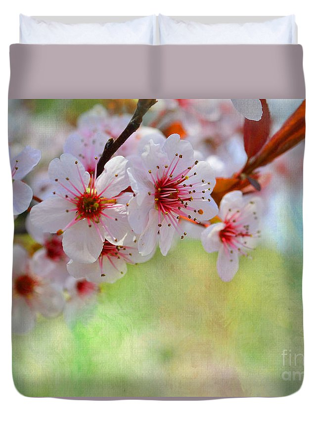 Nature Duvet Cover featuring the photograph Ornamental Plum II by Debbie Portwood