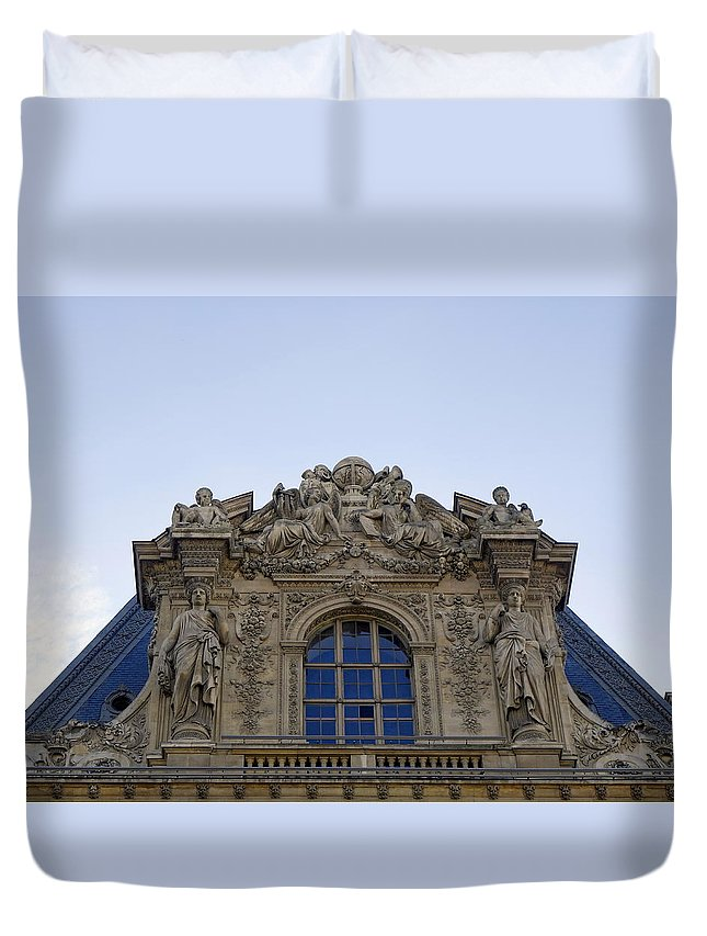 Paris Duvet Cover featuring the photograph Ornate Architectural Artwork On The Musee Du Louvre Buildings In Paris France by Richard Rosenshein