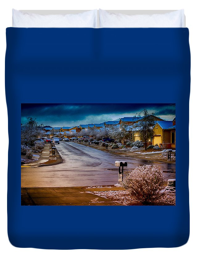 Myhaver Photography Duvet Cover featuring the photograph Oro Valley Winter No.54 by Mark Myhaver