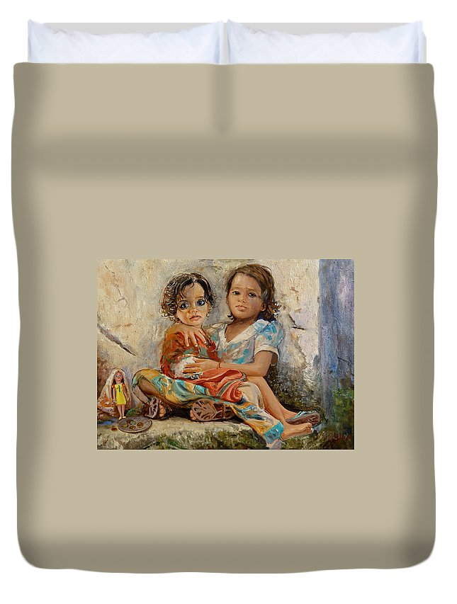 Orphans Duvet Cover featuring the painting Orphans by Sefedin Stafa