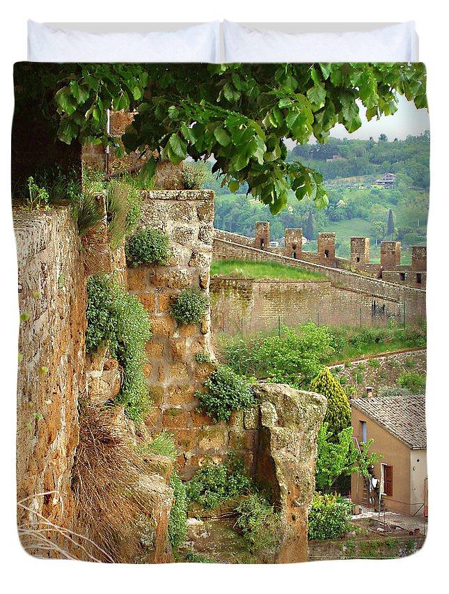 Orvieto Battlement Duvet Cover featuring the photograph Orvieto Battlement by Ellen Henneke