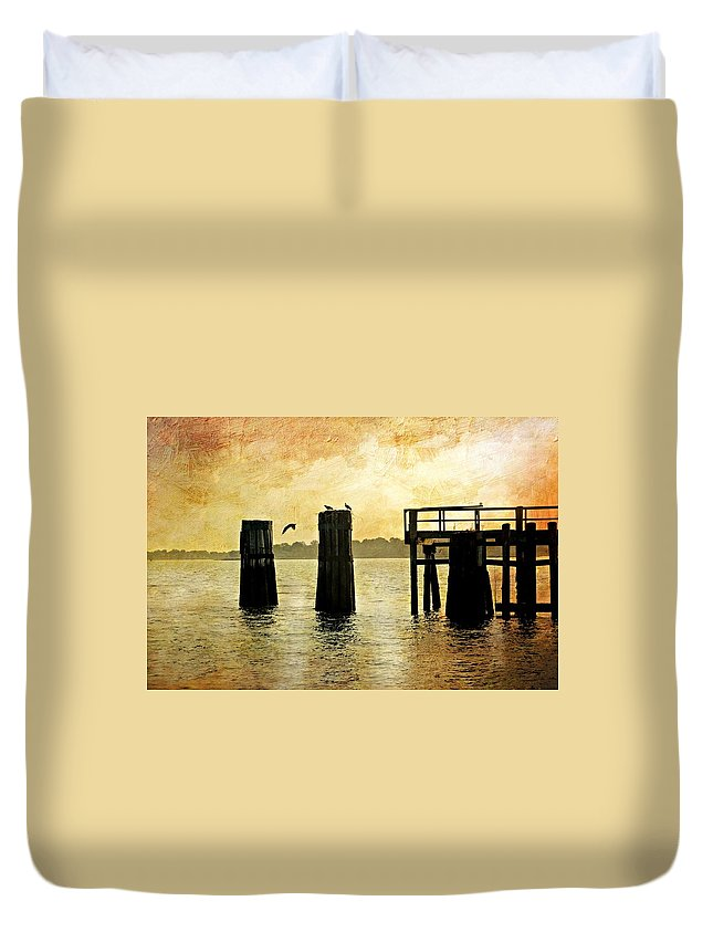 Pier Duvet Cover featuring the photograph Osprey by Diana Angstadt