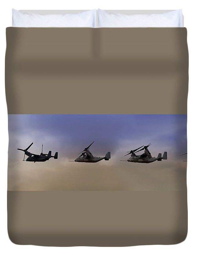 V22 Duvet Cover featuring the photograph Osprey Transformation by Ricky Barnard