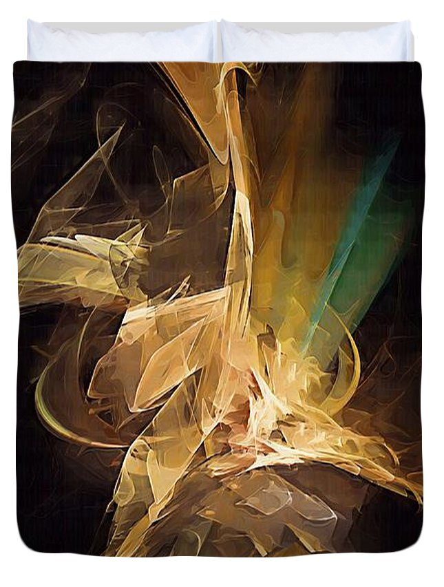 Painting Duvet Cover featuring the digital art Ostrich 2 Marucii by Marek Lutek
