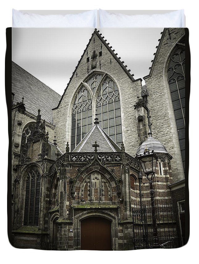2014 Duvet Cover featuring the photograph Oude Kerk Door With Bikes Amsterdam by Teresa Mucha