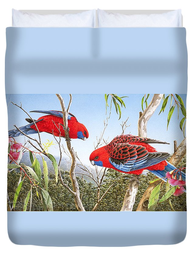 Bird Duvet Cover featuring the painting Our Beautiful Home - Crimson Rosellas by Frances McMahon