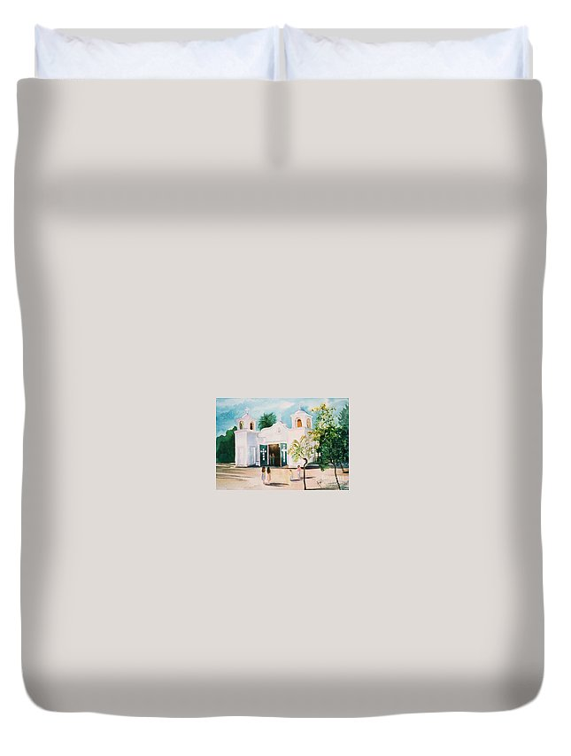 Mission Church Duvet Cover featuring the painting Our Lady Of Guadalupe by Marilyn Smith