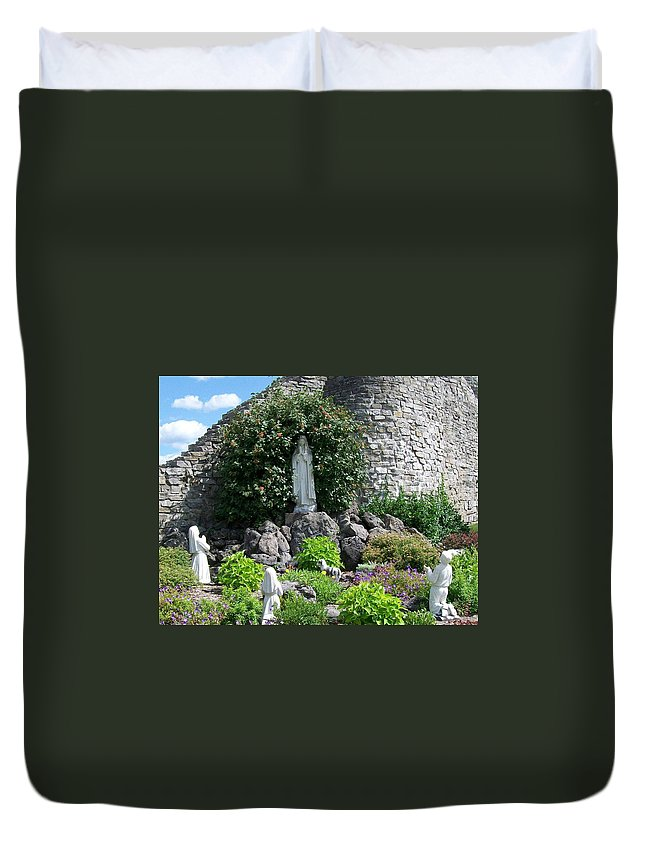 Religious Duvet Cover featuring the photograph Our Lady of the Woods Shrine lll by Michelle Calkins