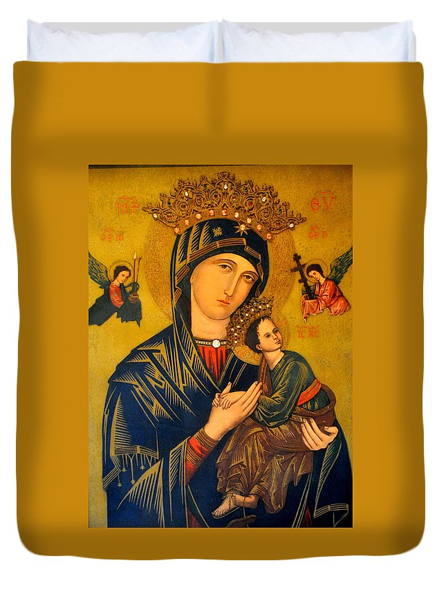 Mother Duvet Cover featuring the photograph Our Mother Of Perpetual Help Rome by Jay Milo