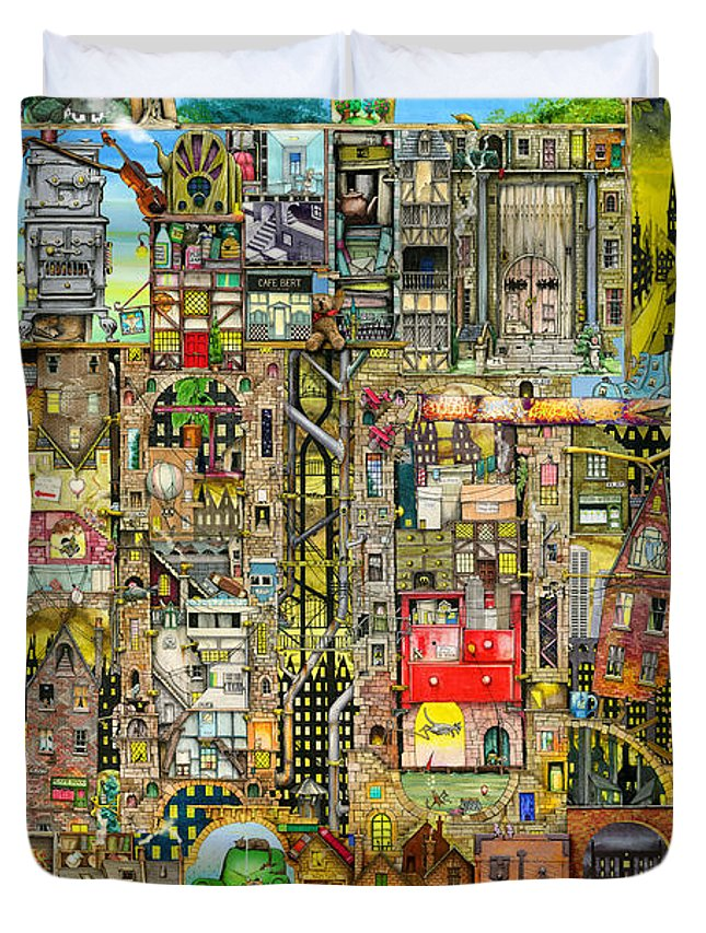 Town Duvet Cover featuring the digital art Our Town by Colin Thompson