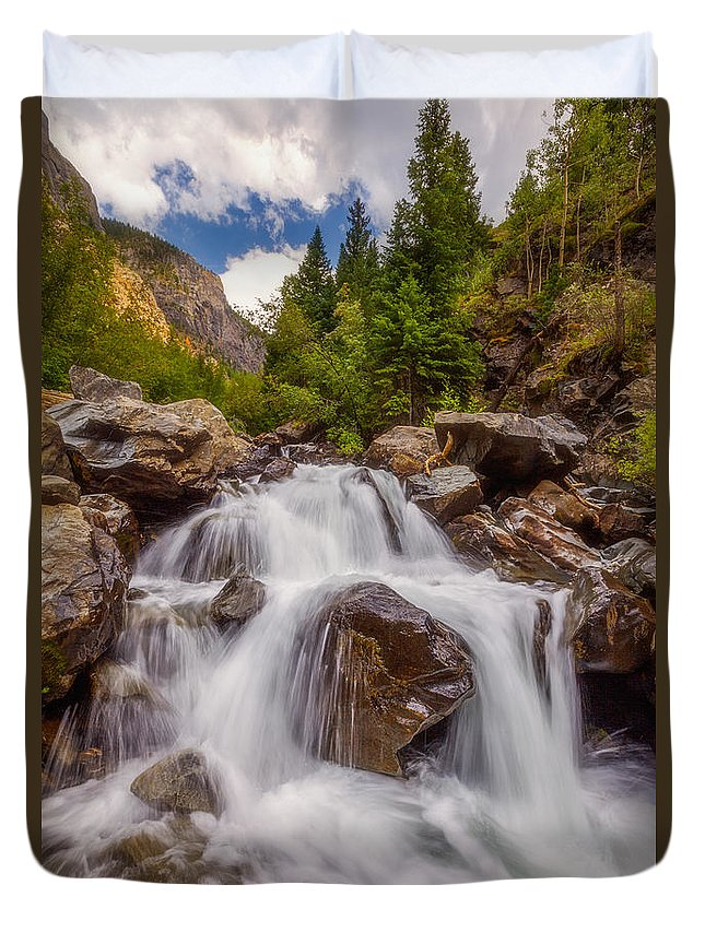 Waterfall Duvet Cover featuring the photograph Ouray Wilderness by Darren White