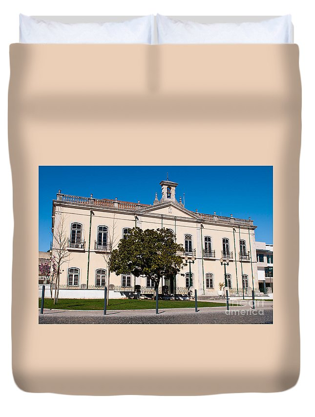City Duvet Cover featuring the photograph Ourem City Hall by Luis Alvarenga