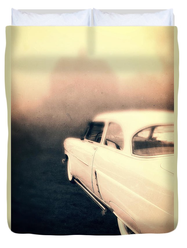 Mystery Duvet Cover featuring the photograph Out Of Gas by Edward Fielding