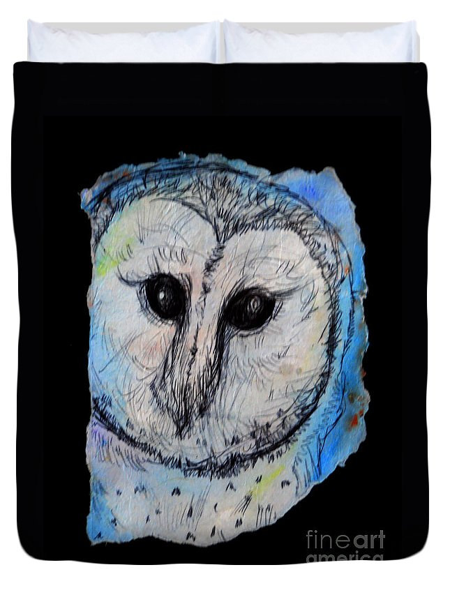 Owl Duvet Cover featuring the painting Out Of The Dark by M c Sturman