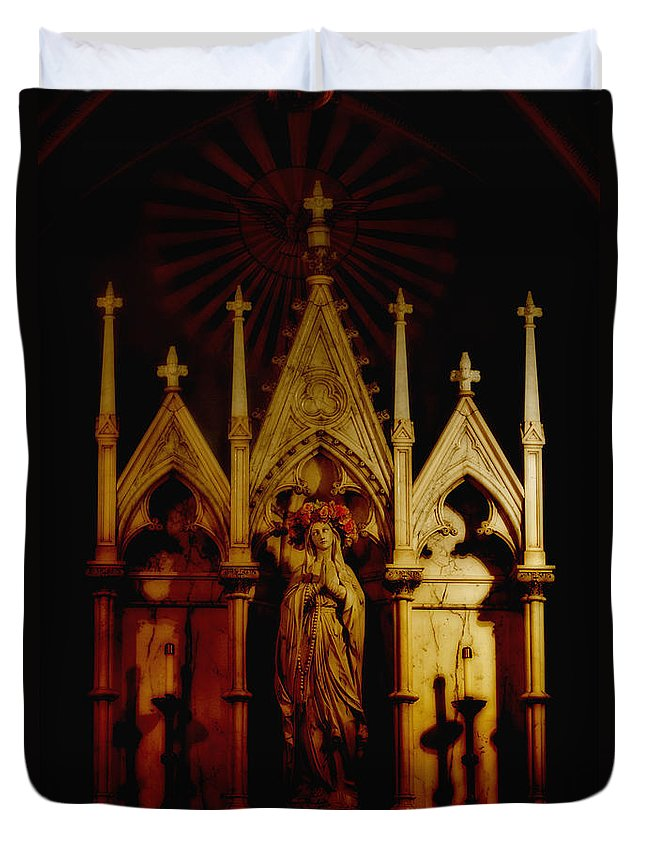 Church; Religion; Light; Illuminated; Dark; Darkness; Red; Colorful; Religious; Mary; Worship; Arch; Gothic; Inside; Indoors; Interior; Catholic; Christian; Alter; Ornate; Lovely; Beautiful; Shadows; Mystery; Mysterious; Creepy; Scary; Ominous Duvet Cover featuring the photograph Out Of The Darkness by Margie Hurwich