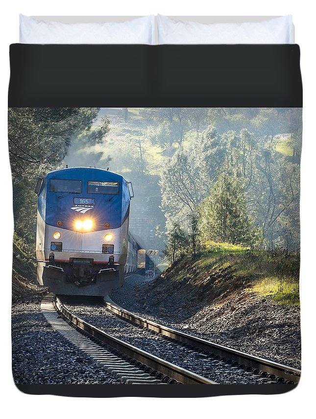 Amtrak Duvet Cover featuring the photograph Out Of The Mist by Jim Thompson