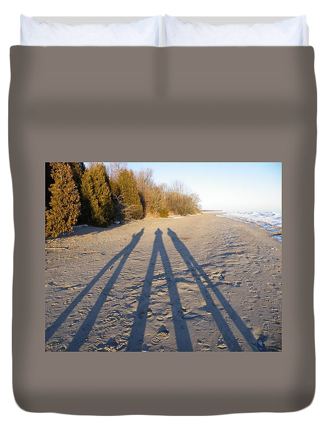 Beach Duvet Cover featuring the photograph Out Of The Shadows by Davandra Cribbie