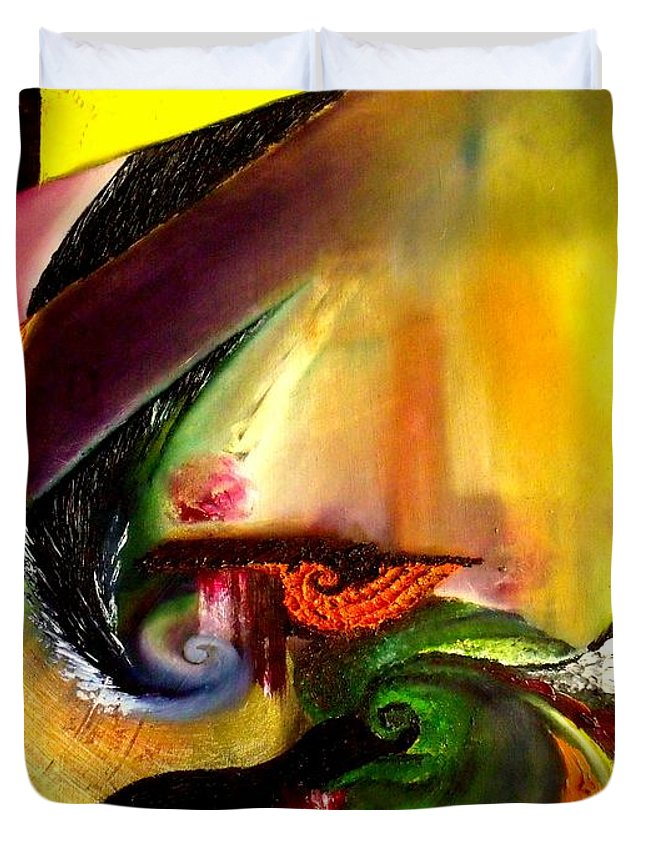 Out Of Time Duvet Cover featuring the painting Out Of Time. Out Of Space. by Alenia Laguardia