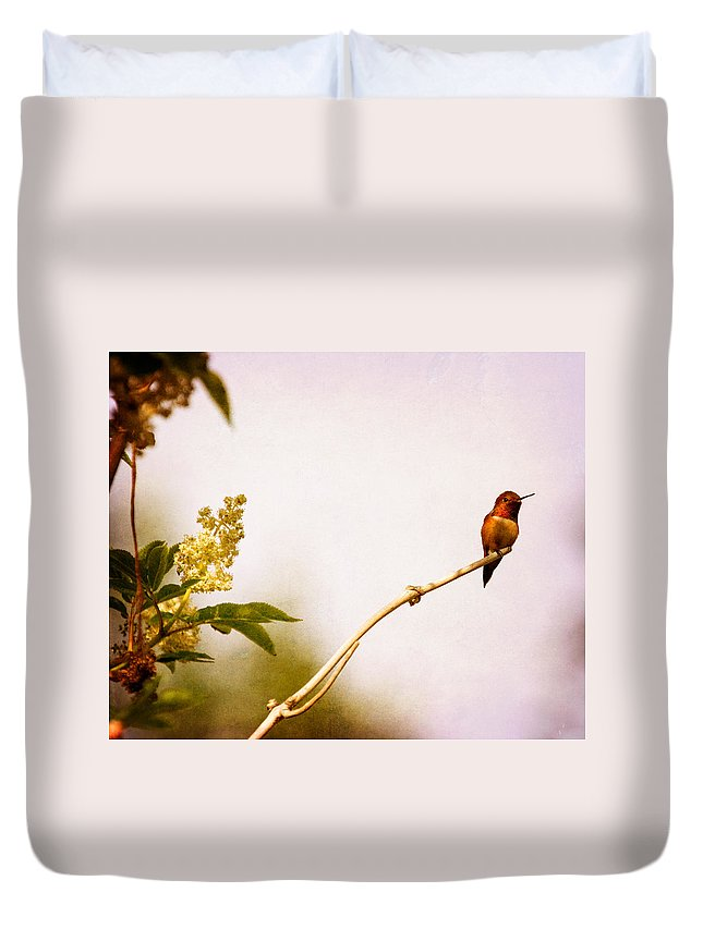 Hummingbird Duvet Cover featuring the photograph Out On A Limb by Peggy Collins