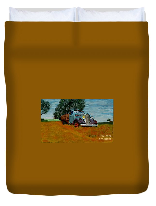 Truck Duvet Cover featuring the painting Out To Pasture by Anthony Dunphy