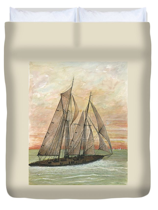 Sailboat; Ocean; Sunset Duvet Cover featuring the painting Out To Sea by Ben Kiger