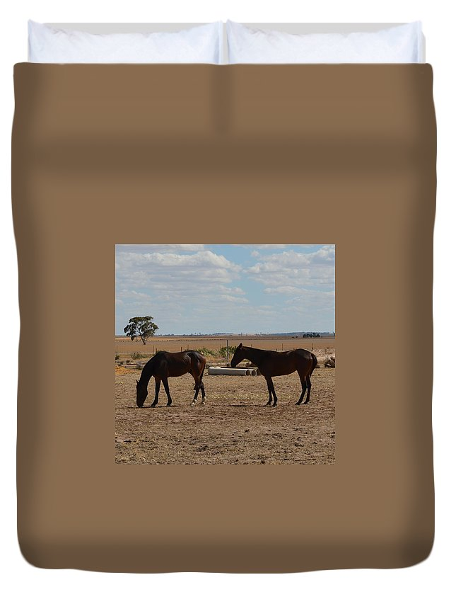 Australia Duvet Cover featuring the photograph Outback Horses by Cheryl Miller