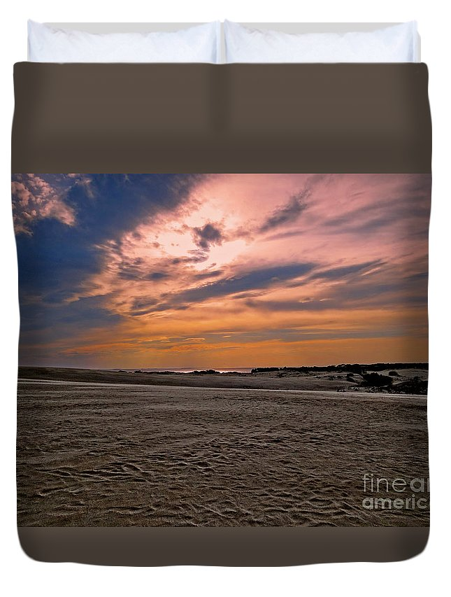 Nature Duvet Cover featuring the photograph Outer Banks Sunset by Dawn Gari