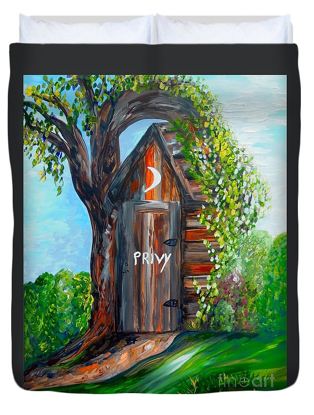 Out House Duvet Cover featuring the painting Outhouse - Privy - The Old Out House by Eloise Schneider Mote