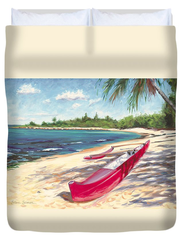 Outrigger Duvet Cover featuring the painting Outrigger - Haleiwa by Steve Simon