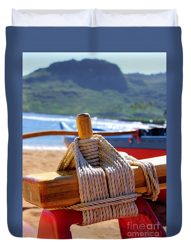 Outrigger Duvet Cover featuring the photograph Outrigger Rigging by Mary Deal