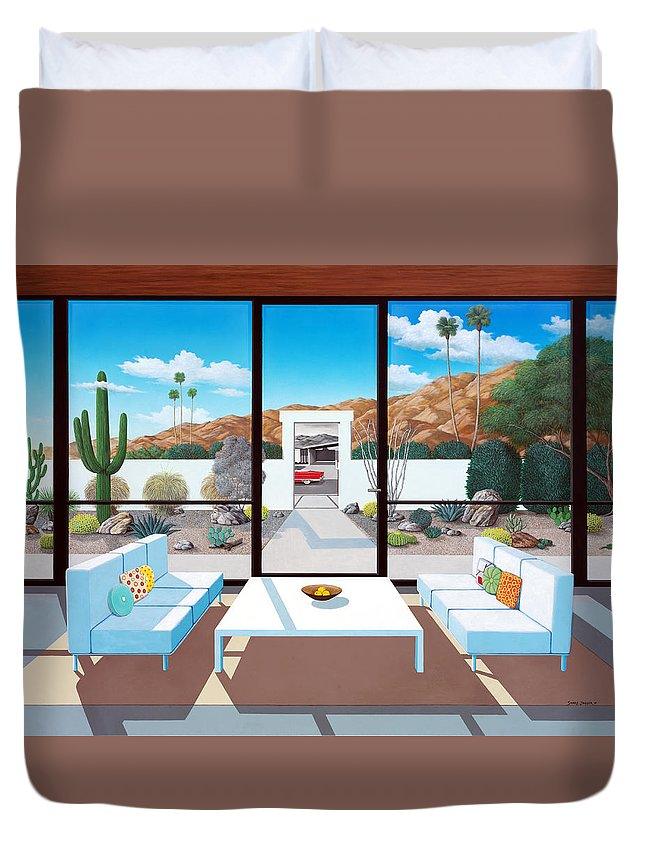 Mid Century Modern Duvet Cover featuring the painting Outside and Beyond by Snake Jagger