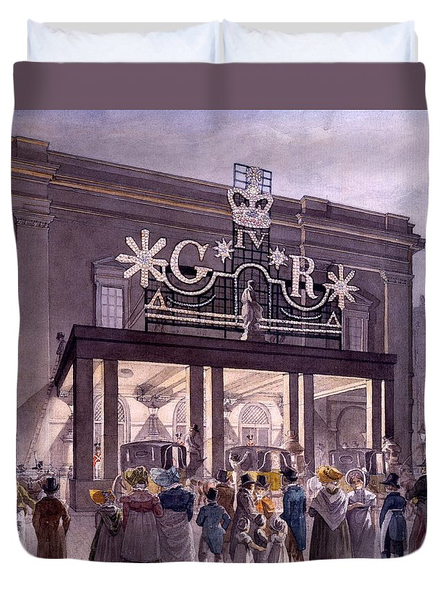 Theatre Royal Duvet Cover featuring the drawing Outside The Theatre Royal, Drury Lane by Robert Blemell Schnebbelie