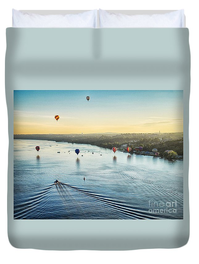 Hudson River Duvet Cover featuring the photograph Over The Hudson by Claudia Kuhn