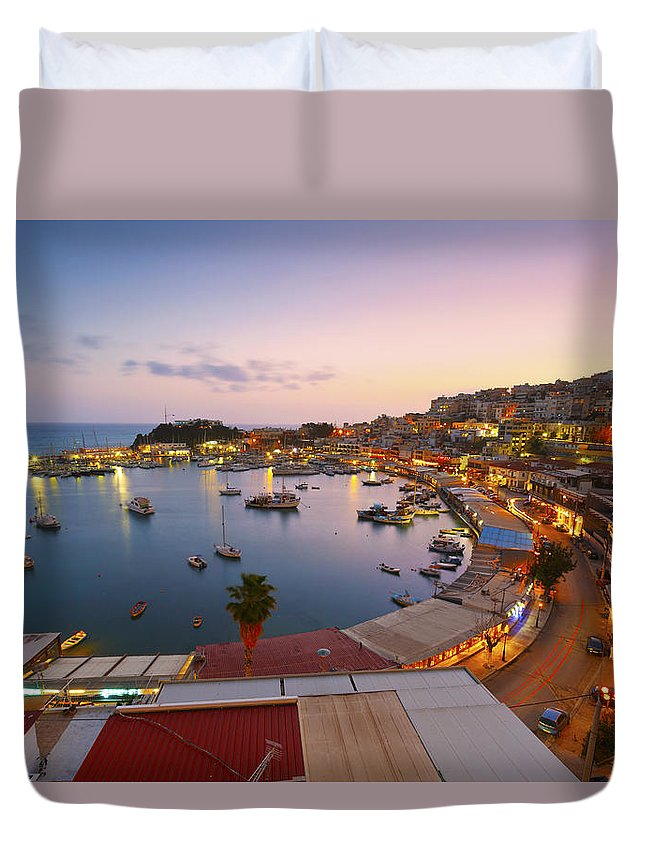 Athens Duvet Cover featuring the photograph Over The Marina by Milan Gonda