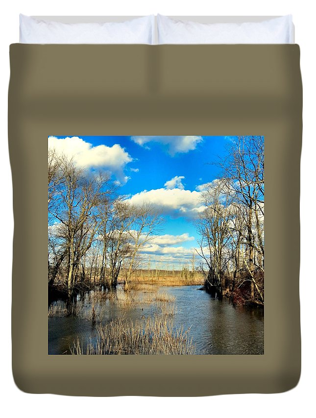 Nature Duvet Cover featuring the photograph Over The Waters by Art Dingo