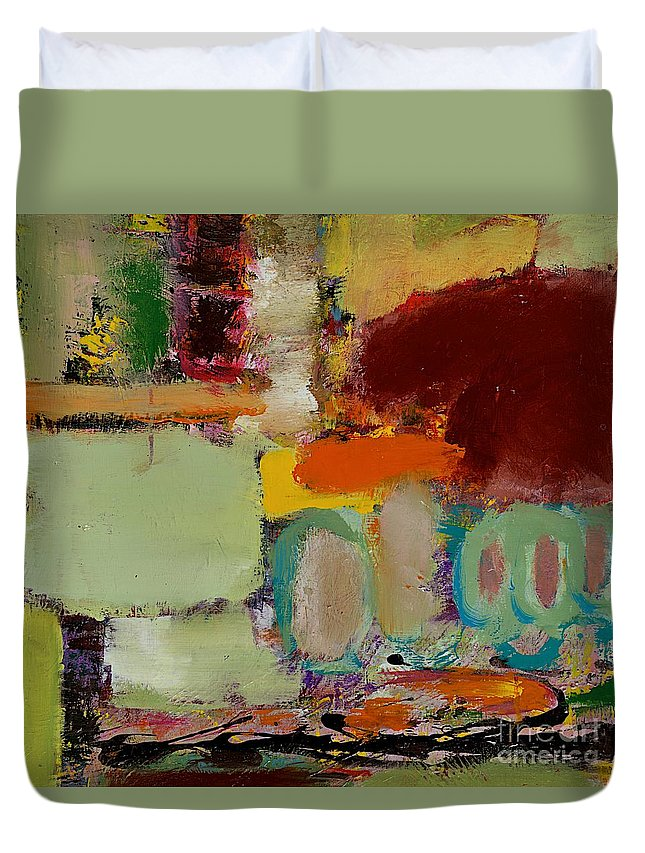 Landscape Duvet Cover featuring the painting Over There by Allan P Friedlander