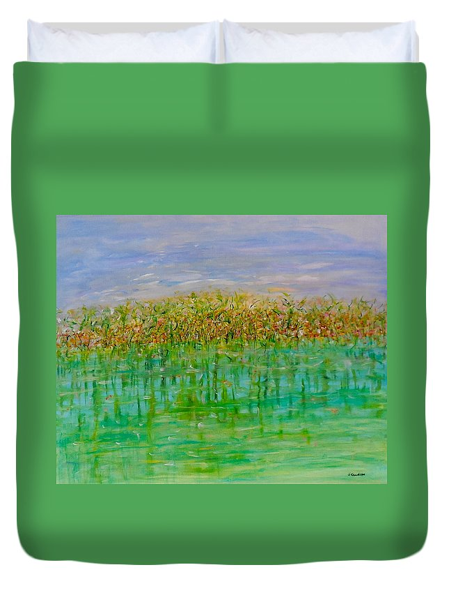 Whimsical Landscape Scene Duvet Cover featuring the painting Over Under by Sara Credito