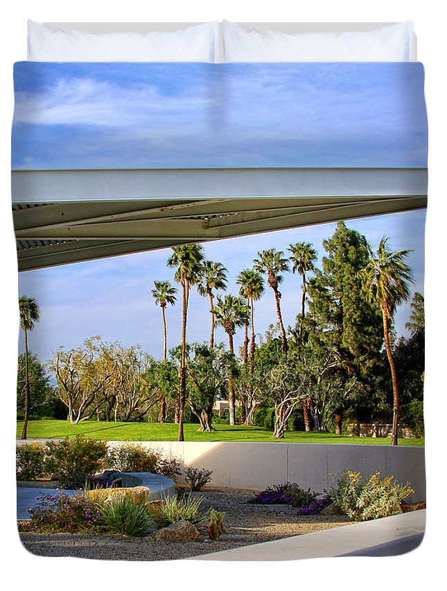 Palm Springs Duvet Cover featuring the photograph OVERHANG Palm Springs Tram Station by William Dey