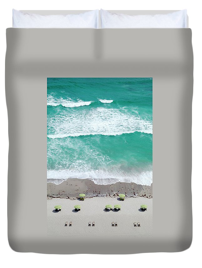 Vacations Duvet Cover featuring the photograph Overhead Wide Angle Of The Beach by Bauhaus1000