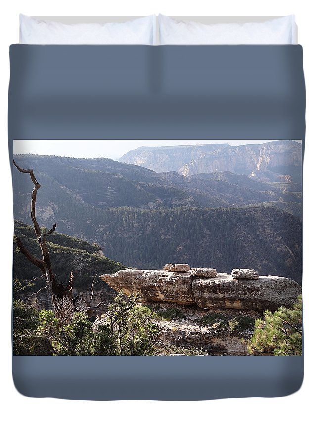 Canyon Duvet Cover featuring the photograph Overlook by Jamie Ramirez