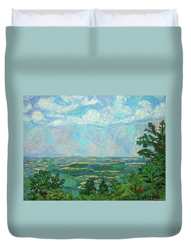 Kendall Kessler Duvet Cover featuring the painting Overlook Near Peaks Of Otter by Kendall Kessler