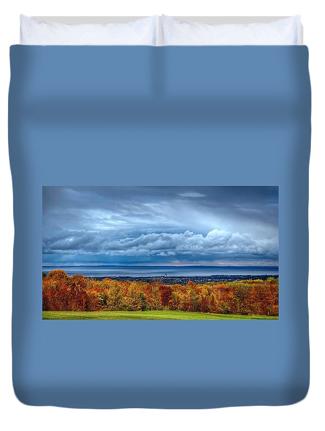 Beautiful Duvet Cover featuring the photograph Overlooking The Bay by Jeff S PhotoArt